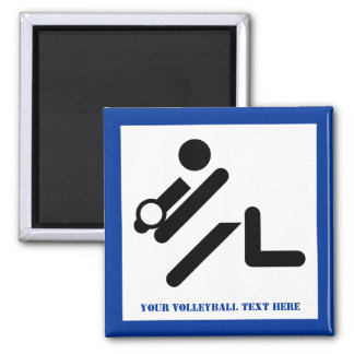 Volleyball player black, white, blue icon custom square magnet
