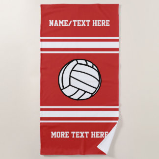 Volleyball Player Name Team Name Your Team Color Beach Towel
