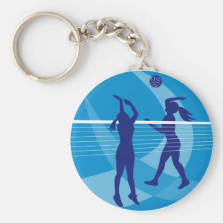 Volleyball Player Spiking Blocking Ball Indoor Key Ring