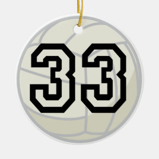 Volleyball Player Uniform Number 33 Gift Ceramic Ornament