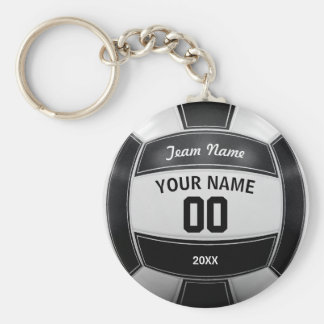 Volleyball Player's Name Year Team Black and White Key Ring