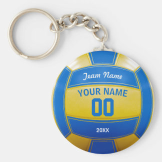 Volleyball Player's Name Year Team Blue and Yellow Key Ring