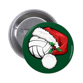 Volleyball Santa Cap with Green Pinback Button