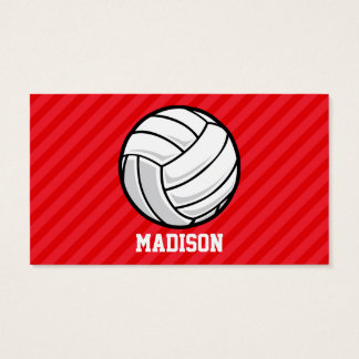 Volleyball; Scarlet Red Stripes Business Card