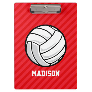 Volleyball; Scarlet Red Stripes Clipboard