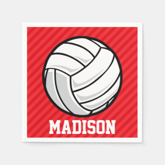 Volleyball; Scarlet Red Stripes Paper Napkin