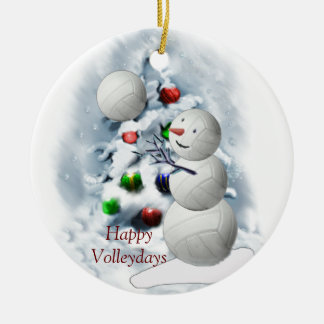 Volleyball Snowman Christmas Ceramic Ornament