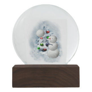Volleyball Snowman  Christmas Snow Globe