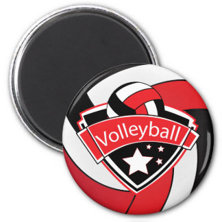 Volleyball Star Player - Red, White and Black 6 Cm Round Magnet