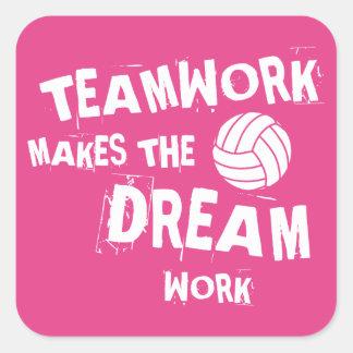 Volleyball Teamwork Square Sticker
