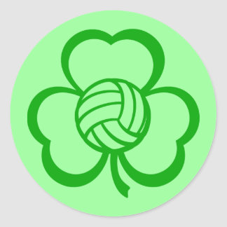 Volleyball Three Leaf Clover for St. Patrick's Day Round Stickers