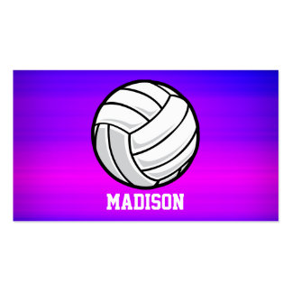 Volleyball; Vibrant Violet Blue and Magenta Double-Sided Standard Business Cards (Pack Of 100)