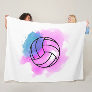 Volleyball Watercolor Fleece Blanket
