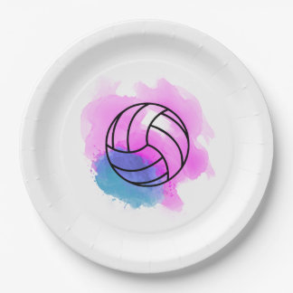 Volleyball Watercolor Paper Plate