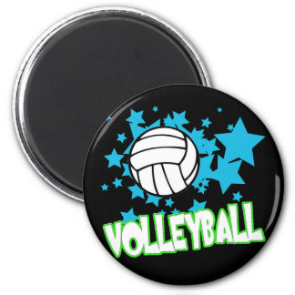 Volleyball with Stars 6 Cm Round Magnet