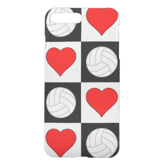 Volleyballs & Hearts Black & White Checkered Case