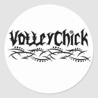 VolleyChick Volleyball Barbed Classic Round Sticker