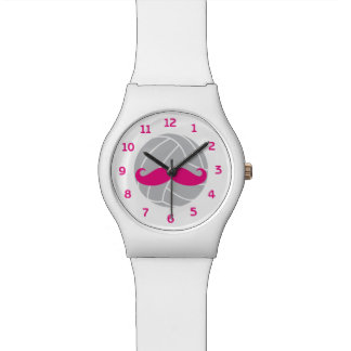 VolleyChick Volleyball Mustache Pink Watch