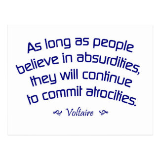 Voltaire on Absurdities Postcard