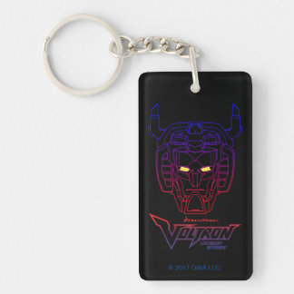 Voltron   Blue-Red Gradient Head Outline Double-Sided Rectangular Acrylic Key Ring