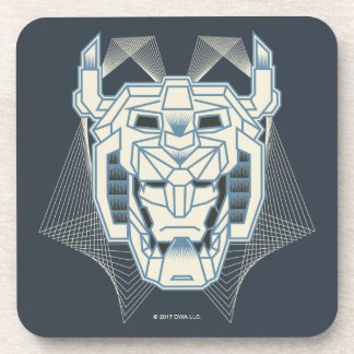 Voltron | Voltron Head Blue and White Outline Beverage Coaster