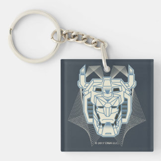 Voltron   Voltron Head Blue and White Outline Double-Sided Square Acrylic Key Ring