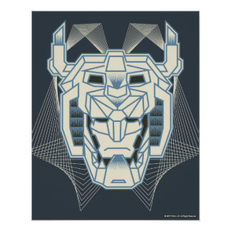 Voltron | Voltron Head Blue and White Outline Poster