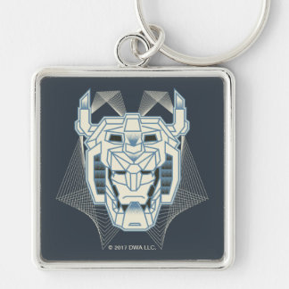 Voltron | Voltron Head Blue and White Outline Silver-Colored Square Key Ring