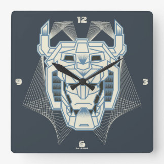 Voltron   Voltron Head Blue and White Outline Wall Clock