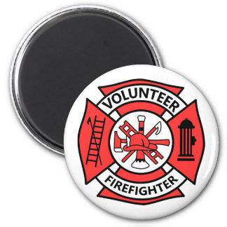 Volunteer Firefighter 6 Cm Round Magnet