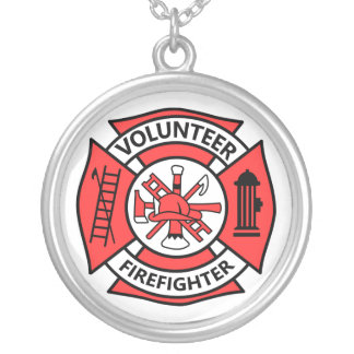 Volunteer Firefighter Silver Plated Necklace