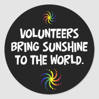 Volunteers bring sunshine to the world classic round sticker