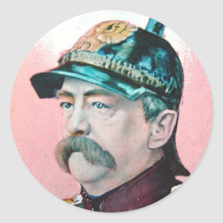 Von Bismarck with caption (public domain) Round Sticker