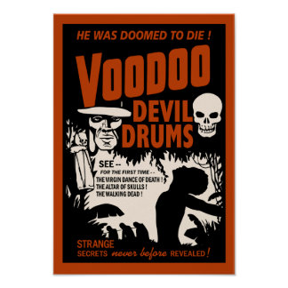 Voodoo Devil Drums - Poster with Man