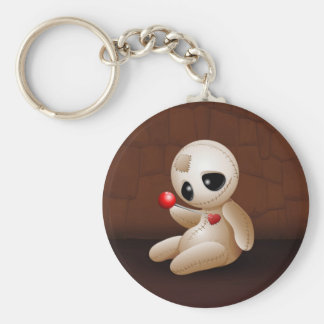 Voodoo Doll Cartoon in Love Basic Round Button Key Ring