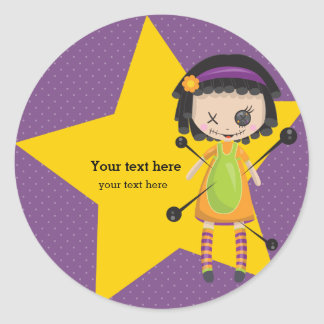 Voodoo doll - choose background color classic round sticker