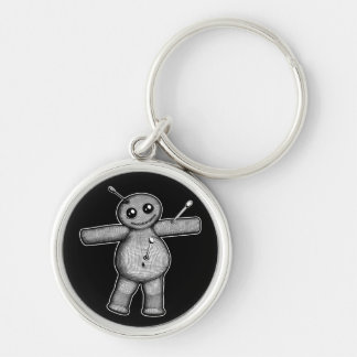 Voodoo Doll Keychain Silver-Colored Round Keychain