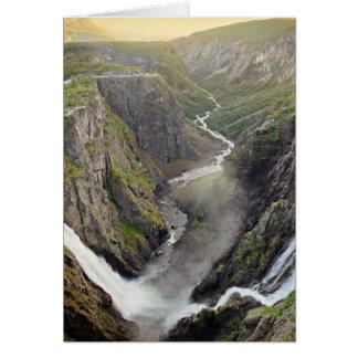 Voringsfossen waterfall in Norway greeting card