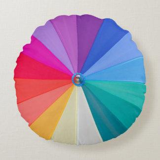 vortex of colours on polyester round throw pillow