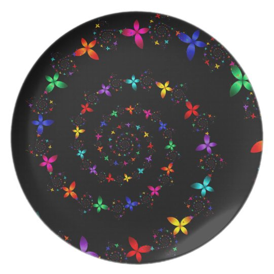 Vortex Of Flowers Melamine Plate