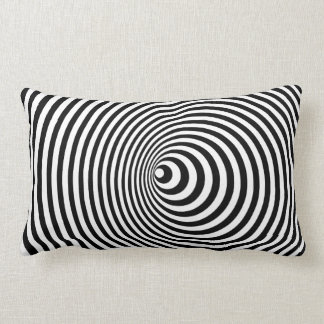 Vortex, optical illusion black and white lumbar cushion