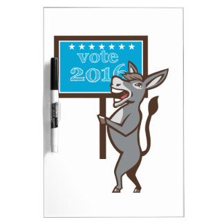 Vote 2016 Democrat Donkey Mascot Cartoon Dry Erase Boards