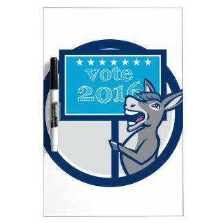 Vote 2016 Democrat Donkey Mascot Cartoon Dry-Erase Whiteboards