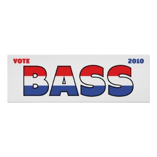 Vote Bass 2010 Elections Red White and Blue Print
