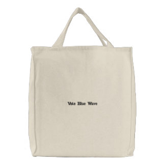 vote blue wave embroidered tote bag