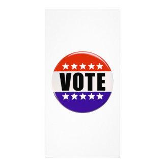 Vote Button Customized Photo Card