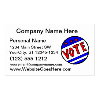 VOTE circle seal with stars and stripes red blue Business Cards