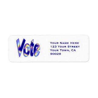 Vote colorful blue return address label