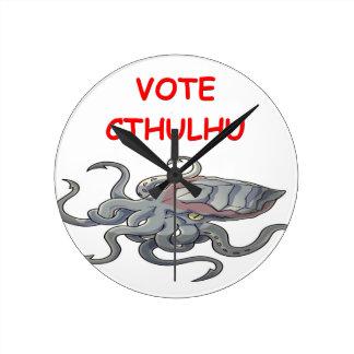 vote cthulhu round wall clock