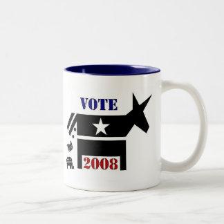 VOTE DEMOCRAT IN 2008 COFFEE MUG